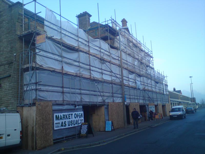 Scaffolding erected to Fleetwood Market in Lancashire