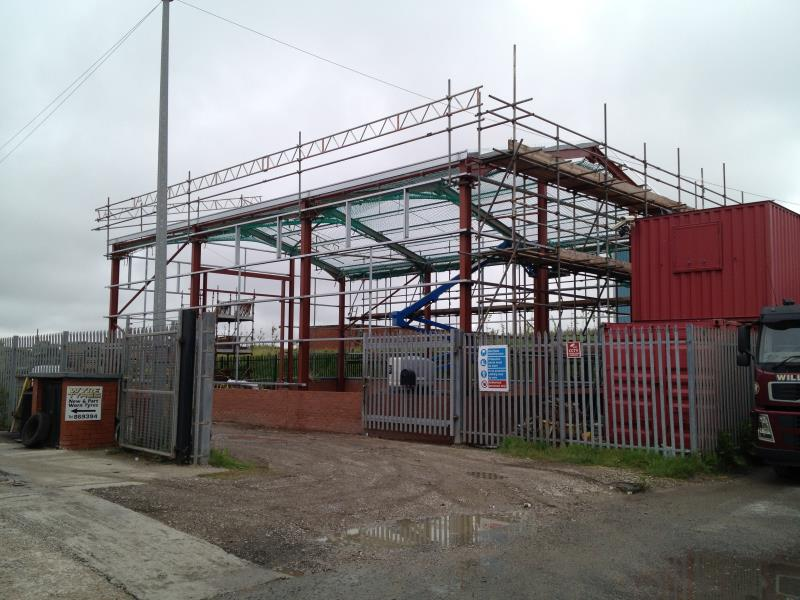 Scaffolding erected during the construction of an industrial unit in Fleetwood, Lancashire